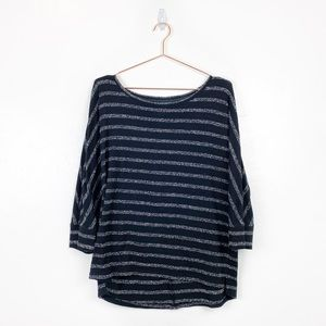 Lou & Grey | Black Gray Striped Sweater